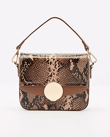 Snake Print Faux Leather Crossbody Bag
