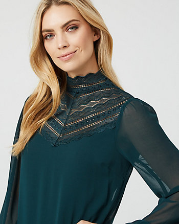 Lace & Chiffon Mock Neck Illusion Blouse