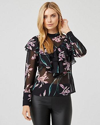 Floral Print Chiffon Mock Neck Blouse