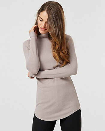 Knit Funnel Neck Tunic Top