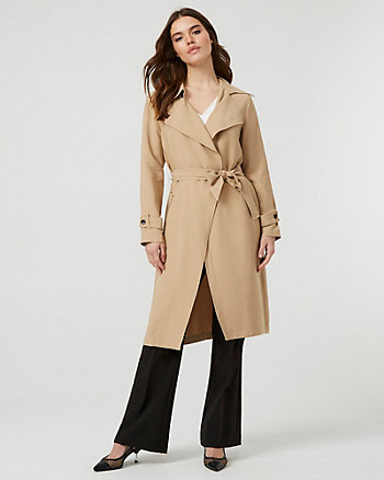 Double Weave Notch Collar Trench Coat