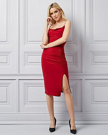 Knit Cowl Neck Cocktail Dress