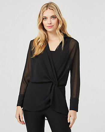 Chiffon Wrap-Like Tunic Blouse