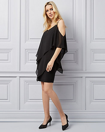 Chiffon Cold Shoulder Dress