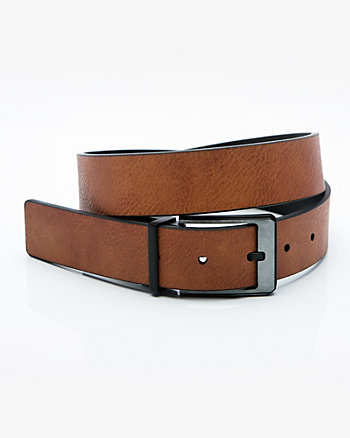 Reversible Faux Leather Prong Belt