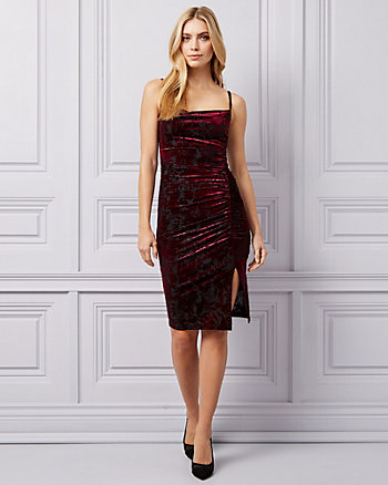 Burnout Velvet Cowl Neck Dress