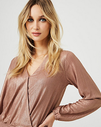 Metallic Foil Knit Wrap-Like Top