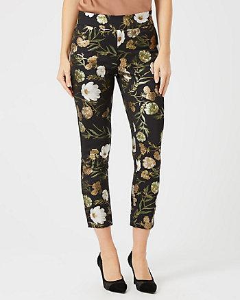 Foil Floral Print Scuba Knit Slim Leg Pant