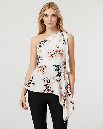 Floral Print One Shoulder Asymmetrical Blouse