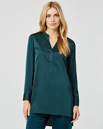 Satin High-Low Tunic Blouse