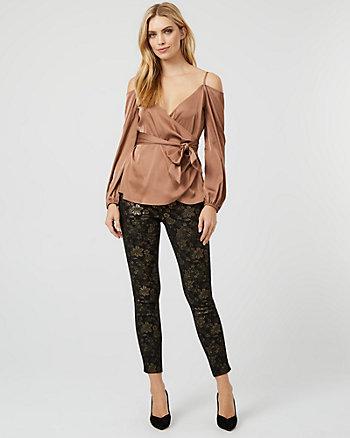 Metallic Floral Print Knit Skinny Leg Pant
