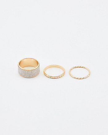 Set of Two Glitter Rings