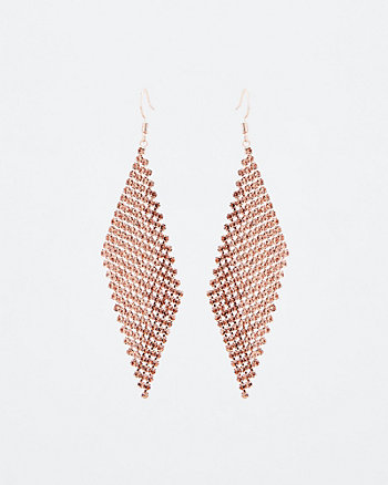 Gem Encrusted Trapezoid Drop Earrings