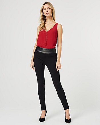 Faux Leather & Ponte Knit Skinny Leg Pant