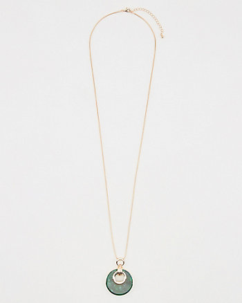 Tortoise Double Ring Pendent Necklace