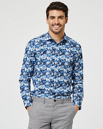 Abstract Print Cotton Slim Fit Shirt