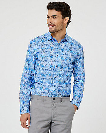 Floral Cotton Poplin Tailored Fit Shirt