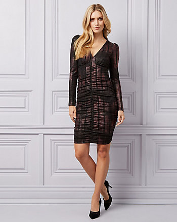 Foil Knit V-Neck Dress