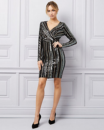 Sequin & Mesh V-Neck Dress