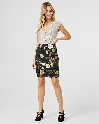 Floral Print Foil Knit Mini Skirt