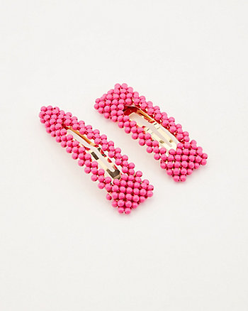 Set of Two Beaded Hair Clips