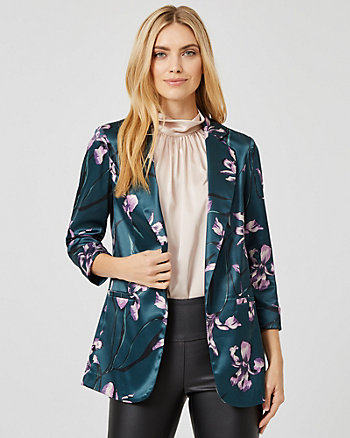 Floral Print Satin Notch Collar  Blazer