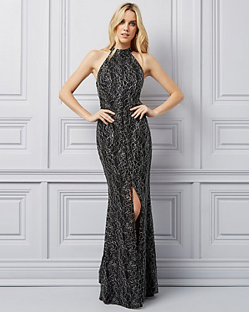 Foiled Lace Halter Neck Gown