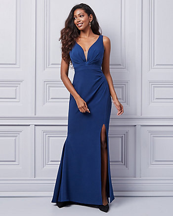 Bi-Stretch V-Neck Gown