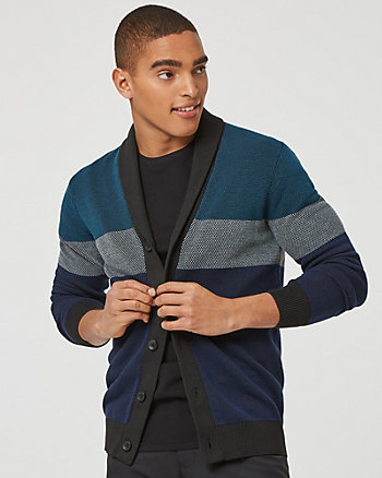 Stripe Knit Button-Front Cardigan