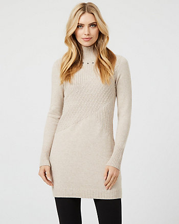 Knit Mock Neck Sweater Dress