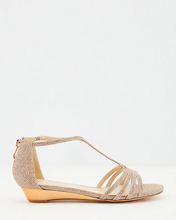 Glitter T-Strap Open Toe Wedge Sandal