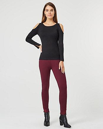 Lace & Ponte Knit Skinny Leg Pant