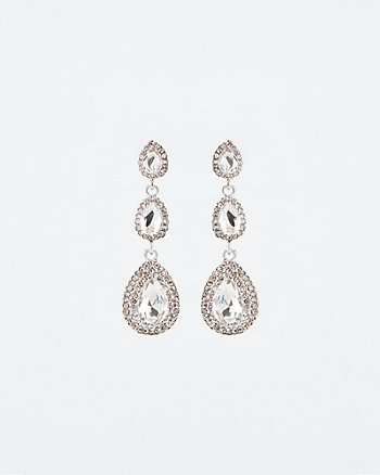 Gem Encrusted Oval Drop Earrings