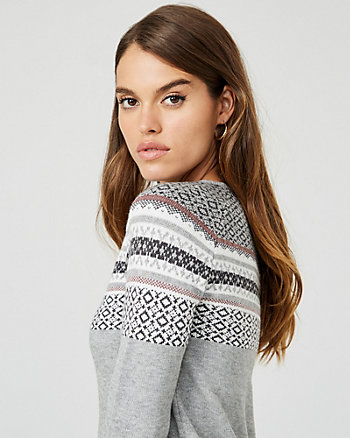 Fair Isle Knit Crew Neck Sweater Dress