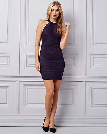 Stretch Lace Halter Neck Dress