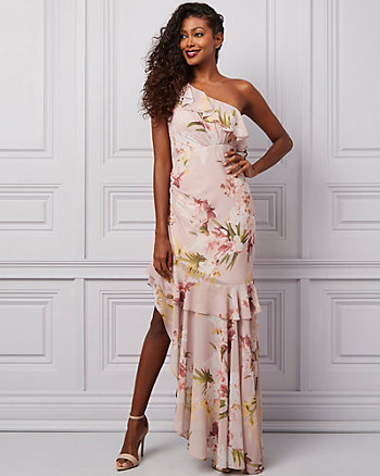 Floral Print One Shoulder Ruffle Dress