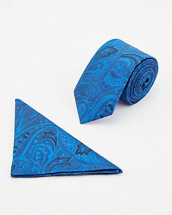 Ensemble cravate et mouchoir à motif