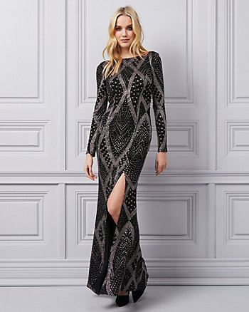 Sparkle Knit Boat Neck Gown