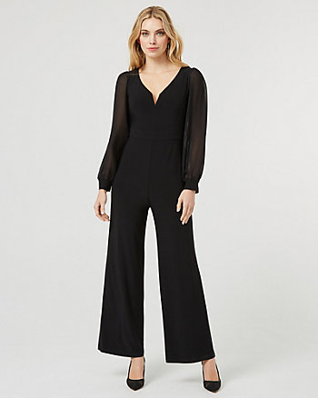 Mesh & Knit Scoop Neck Wide Leg Jumpsuit