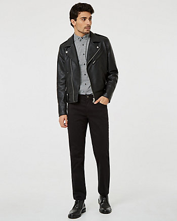 Faux Leather Notch Collar Aviator Jacket