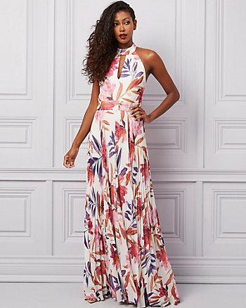 Floral Print Chiffon Mock Neck Gown