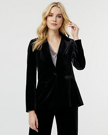 Velvet Notch Collar Blazer
