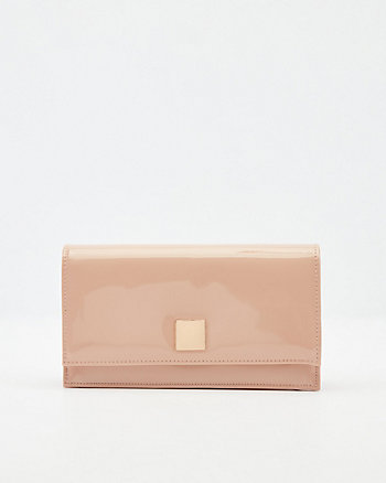Patent Faux Leather Flapover Clutch