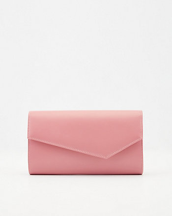 Faux Leather Asymmetrical Flapover Clutch