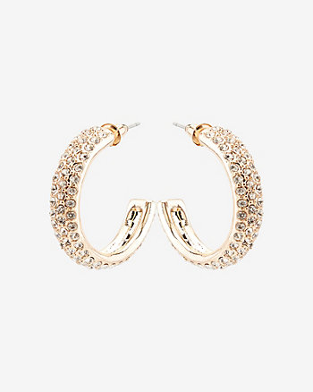 30mm Gem Encrusted Hoop Earrings
