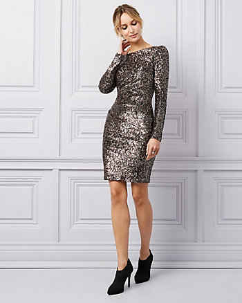Sequin Scoop Neck Dress