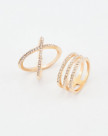 Set of Two Gem Encrusted Rings