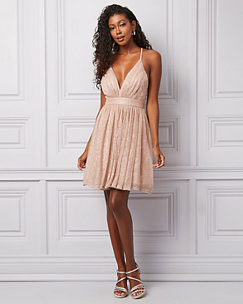 Mesh Sparkle Deep-V Fit & Flare Party Dress