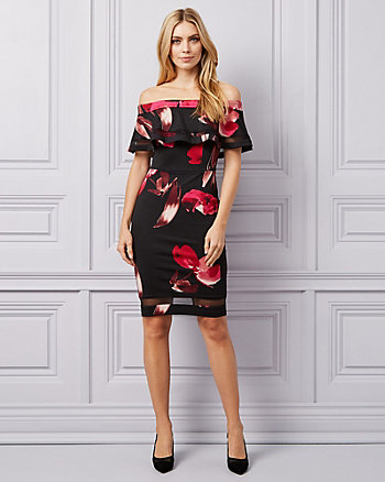 Floral Knit Crêpe Off-the-Shoulder Dress