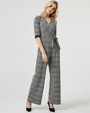 Check Print Knit Wide Leg Jumpsuit